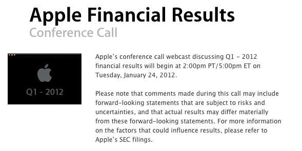 Apple Q1 2012 earnings call