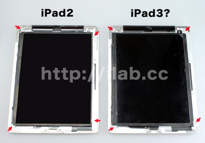 iPad 3 next to iPad 2