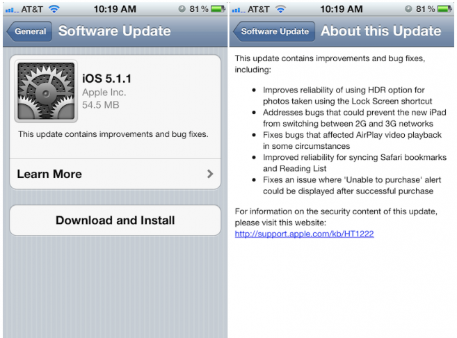 Apple's iOS 5.1.1 update