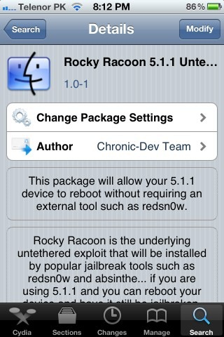 Convert iOS 5.1.1 Thethered Jailbreak to Untethered Using Rocky Racoon 5.1.1