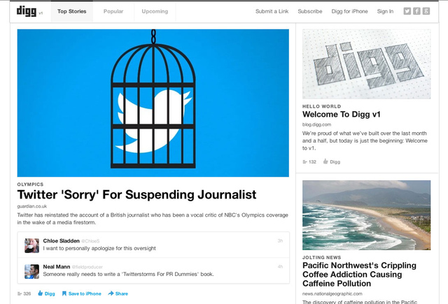 Digg Rebooted, Launches Redesign and iOS App