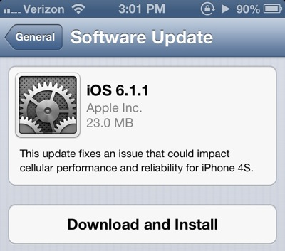iOS 6.1.1 For iPhone 4S Released to Address Cellular Issues