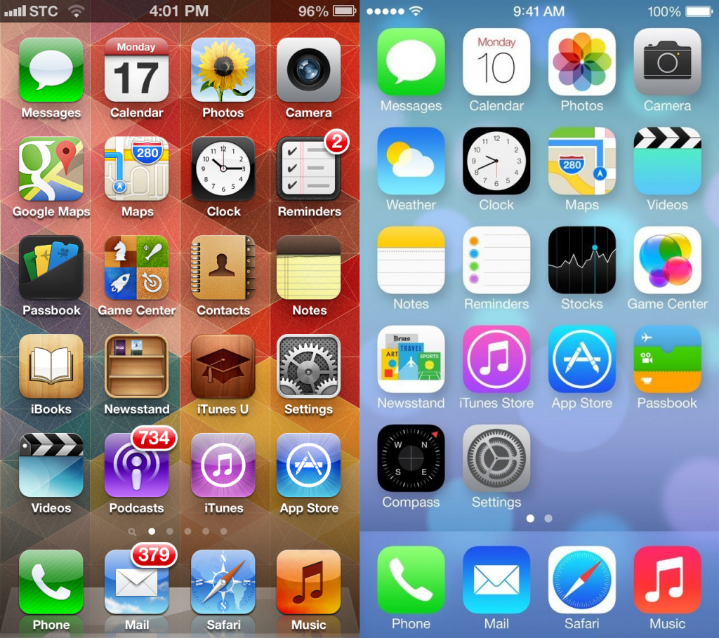 iOS 6 (Left) V.s. iOS 7 (Right)